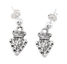 Sterling Silver Flat Arrow Head Dangling Earrings