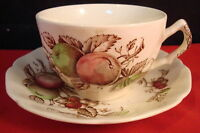 """Johnson Brothers, England, 4 cups and saucers, """"Harvest Time"""" pattern,Polychrome"""