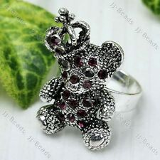 Purple Crystal Rhinestone Crown Bear Adjustable Cocktail Ring #6.5 Jewelry Gift
