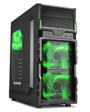 Sharkoon PC Computer Gehäuse VG5-W ATX Midi Tower schwarz/grün 2x USB 3.0