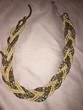 Golden Yellow One Loose String Forever 21 Gold Statement Twist Necklace