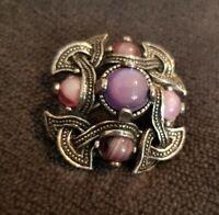 Vintage Brooch Pin Pinky Purple Stones Scottish inspired Celtic silvertone kilt