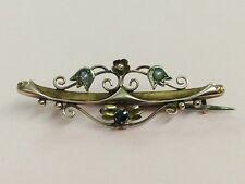 Antico 9ct Rose Oro Semi Pearl & Zaffiro Spilla Pin 1910