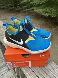 nike flex runner size 1 youth kids shoes blue hero summit white