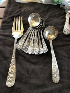 Repousse Stieff Kirk Sterling ladle, Soup Spoons Serving Fork, All Mono 407 Gr