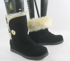 Black Winter Comfortable Flat Ankle Boot Fur Inside/Gold Button Size 11