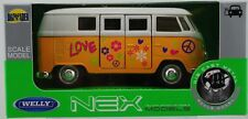1963 VW VOLKSWAGEN T1 BUS FLOWERS WHITE-YELLOW 1:34-1:39 WELLY METAL CAR NIB