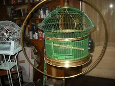 antique vintage hendryx brass bird cage and stand rare pyralin feeders
