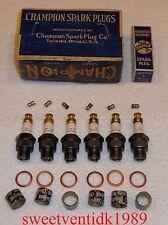 (6).....NOS Champion #7 Spark Plugs......'Brass Hat'.....2 Ring design