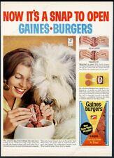 1965 Old English Sheepdog photo Gaines Burgers dog food vintage print ad