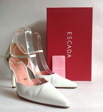 ESCADA Bianco Tutti in Pelle Mary Jane Scarpe da punta a mandorla UK 6 EU 39 BOX & CARE LABEL