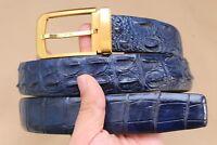 Blue Genuine Alligator Crocodile Leather SKIN MEN'S Belt - Without Jointed