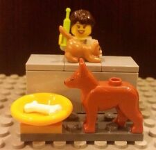 Lego NEW Veterinarian Minifigure With Orange Cat, Dog, Food Dish w/ Bone + Table