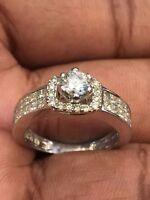 Pave 1,49 Cts Runde Prinzess Cut Natürliche Diamanten Jahrestag Ring In 14K Gold