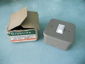 NEW BOXED - VINTAGE CRABTREE 2951 GREY METAL INDUSTRIAL ROCKER SWITCH + BACK BOX