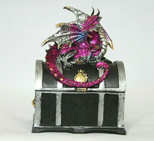 Drachen Figur Dose 13,5 cm hoch, violette Fantasy Figur, Drachen Box