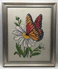 """Vintage Fine Needlepoint Tapestry~Butterfly~Floral~Beautifully Framed~19"""" x 23"""""""