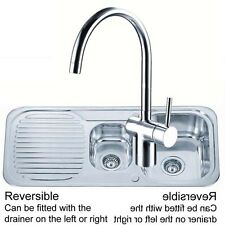 1.5 Stainless Steel Kitchen Sink & Drainer Side Lever Chrome Mixer Tap (KST097)