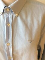 BARBOUR Chambray Blue Tailored Fit 100% Cotton Shirt Size XL Long Sleeve