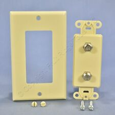 Leviton Ivory Decora DUAL CATV Coaxial Cable Jack Wall Plate Duplex Bulk 40682-I