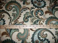 Aqua teal green blue browns tan cream ivory paisley cotton fabric by the yard