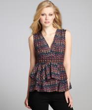 Nanette Lepore Silk Sleeveless V-Neck Top with Black Geometric Print ~ Size 0