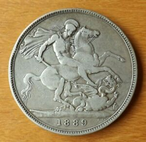 British Victorian Sterling Silver Crown Coin 1889 Very Fine Grade Very Nice.