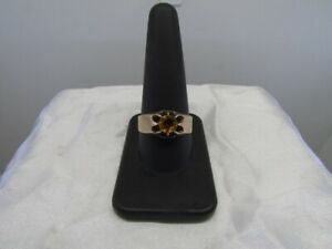 Antique 10K Yellow Gold Citrine Belcher Style Ring Size 10.75