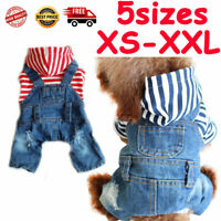 Denim Dog Jumpsuit Stripe Jeans Pet Puppy Cat Comfortable Four Foot Dog Clothes