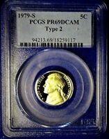 1979-S TYPE-2 PCGS PR69DCAM JEFFERSON PROOF NICKEL! SHARP!