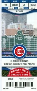 2011 Cubs vs Braves Ticket: Chipper Jones, Alfonso Soriano & Alex Gonzalez HRs