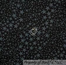BonEful Fabric FQ Cotton Quilt Black Gray Halloween Little STAR Night Sky Calico