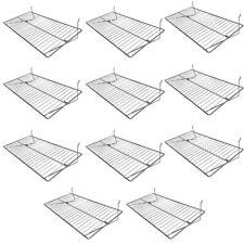 10pc Chrome 24x12 Pegboard Wire Flat Grid Shelf Shelves Retail Display Fixture