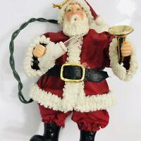 Vintage Light Up Santa Claus Christmas Ornament Silvestri Fabric Mache UNTESTED