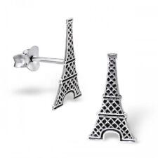 Plata esterlina 925 Torre Eiffel, París Francia 8x16mm Aretes & Caja De Regalo #4
