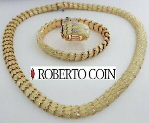 Roberto Coin 5.5 ct 18K Diamond & Enamel Viper Ring Bracelet & Necklace Rtl $55k