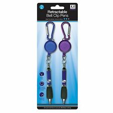 2 plumas clip para cinturón Retráctil Cable de tracción Escritura Papelería nunca se pierden Pluma