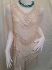 CROCHET SHIRT tops TANK VEST WOMEN cord FRINGE lace Knit sleeveless Boho hippie