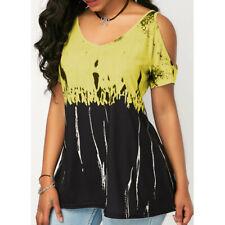869e279a444 Plus Size Womens T-Shirt Cold Shoulder Tops Summer Blouse.