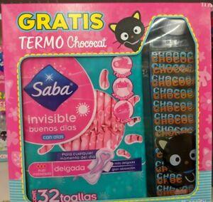Hello Kitty CHOCOCAT 32 Feminine Sanitary Napkins + CHOCOCAT Termo Bottle FREE S