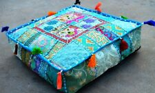 Indian Patchwork Large Floor Ottoman Pouf Cushion Pillow Cover Square Turquoise