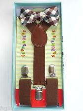 New Baby Toddler Kids Child Plaid Tartan Brown Suspenders Bow Tie Gift Box Set