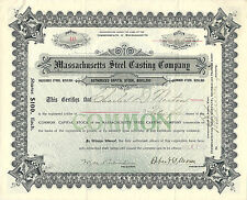 Massachusetts 1904, Massachusetts Steel Casting Co Stock Certificate #40 Common