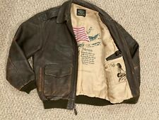 Vintage Avirex Air Force A-2 Bomber Flight Leather Jacket Pin up Girl US Flag