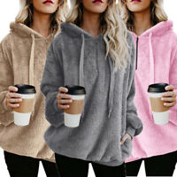 Winter Womens Fluffy Fur Sweatshirt Hoodie Jumper Hooded Coat Pullover Sweater
