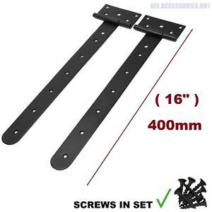 """Pair 400 mm ( 16"""" ) Tee Hinges Black Heavy Duty Strap T Door Backflap Gate SLOO"""