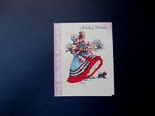 #L200- Vintage Xmas Greeting Card Victorian Couple Heading to Holiday Party