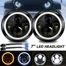 "7"" Inch Round LED Headlights Halo Angle Eyes For Jeep Wrangler JK CJ TJ LJ Pair"