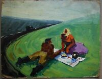 Russian Ukrainian Soviet Oil Painting realism tractor operator lunch girl rest