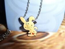 "Jim Benton Happy Bunny Charm Pendant Necklace Kiss my Butt ""pointing"" Pale Pink"